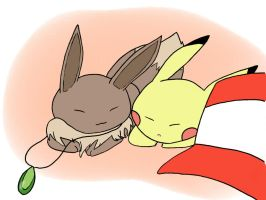 Pikachu and Eevee: OriginalShipping by miyazaki-animation17