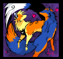Rin and Ash fox and dog by Ash-Dragon-wolf