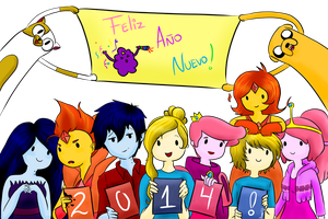 Happy New Year Adventure Time by Akane-Abadeer