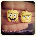 Fimo spongebob orecchini earrings Ploppi by MagicoMondoDiPLOPPI