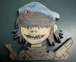 Rhinestone Eyes Cyborg Noodle- Wood by 23-hour-party-people