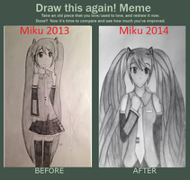 Draw This Again Meme~! Hatsune Miku by LacrimRain