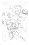 Superman Batman Robin pencils by scottygod