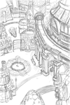 Sketch of a Fantasy Town by Cessa