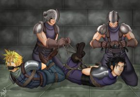 Zack and Cloud hogtied and gagged by Carnath-gid