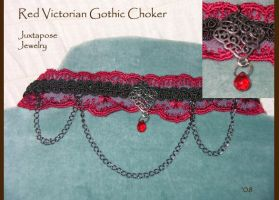 Red Victorian Gothic Choker by JuxtaposeGraphics
