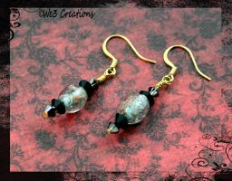 Copper Speckled India Glass and Black Earrings by kelleejm1