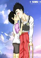 Gohan and Videl, the first kiss by eleneli