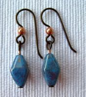 Light Blue and Copper Earrings by solitarymuse