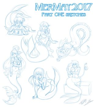 MerMay 2017 - Part ONE sketches by Toonexterminator