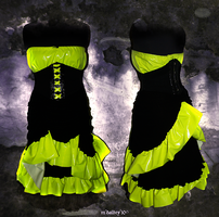 day-glow yellow corset dress by z0mbieparade
