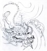 Dragon pencil sketch by vikingtattoo