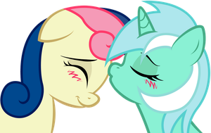 Lyra and Bonbon: sweet kiss by KennyKlent