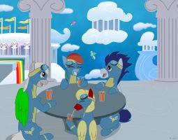 Commission_Wonderbolts' day off by Evil-Rick