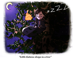 Little Katniss sleeps in a tree by Nani-Mi