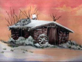 Old Painting: Abandoned Cabin by kanzeNatsume