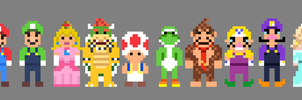 Super Mario Characters 8 bit by LustriousCharming