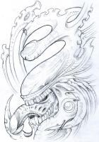 Biomech Sketch 2010 by vikingtattoo