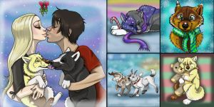 Winter Pups 1 ( All sold) by NatsumeWolf