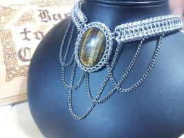 Tigers eye Half Dragon with chain drapes by BacktoEarthCreations