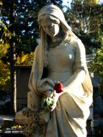 Statue holding a rose colored by CryingForTheAngels