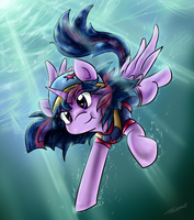 Twilight, Aqua Pony by Tailzkip