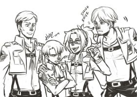 Shingeki no kyojin Doodle - The Veterans by msloveless
