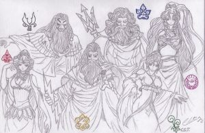 Greek Gods and Goddesses by clintneon