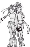 Rikku and Yuffie - Sketch by RiKkU-DA-THieF