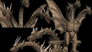 Monster X/Ghidorah .obj for MMD conversion by kaxblastard