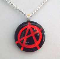 Anarchy Fused Glass Pendant by HoneyCatJewelry