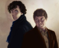 Sherlock and John back to back (colors) by AzurLazuly