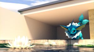 Vaporeon - We have a pool! [WALLPAPER] [3D MODEL] by TheModerator