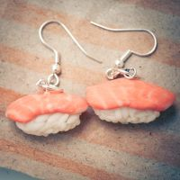 Salmon Nigiri Earrings by zoshalucyna