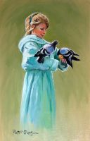 girl with doves by Dreamnr9