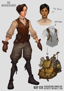 Archaeologist Concept Design - Female by KaynessArt