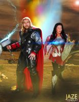 THOR THE DARK WORLD COSPLAY THOR and SIF by captainjaze