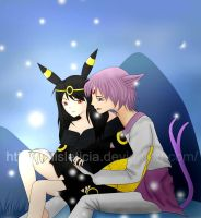 gijinka umbreon and espeon by LelisLeticia