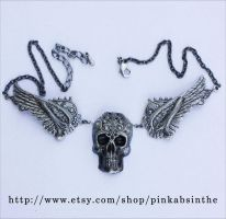 Winged skull necklace2 by Pinkabsinthe
