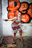 Fashion Shot of woman in front of graffiti by DWaschnigPhotography