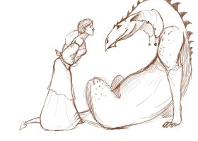 the dragon and the girl by finnicky-dragon