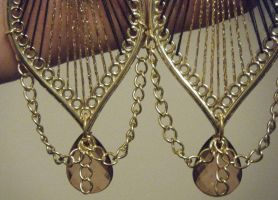 Gold and Brown Large Dangle Earrings 2 by ChibiSayuriEtsy