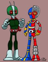 Kamen Rider and Kikaider by SeanRM