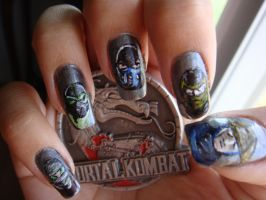 MORTAL KOMBAT nail art pt.2 (Right hand) by BbyCashfLow