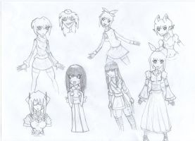 Collective of Cuteness- girl sketches by Angryspacecrab