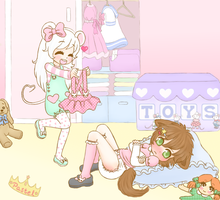 Dress up time with Lil-Vyx~ (diaper content) by Pastel-Hime