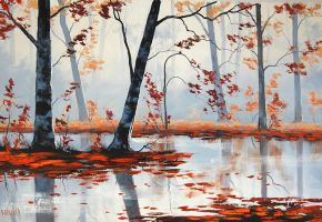 Red Forest Leaves by artsaus