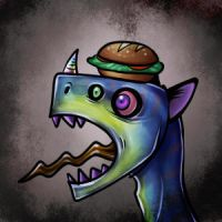 Dinosaur with Sandwich on Head by blackRAVENsong