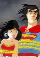 Superman and Wonder Woman tied by bbbeto