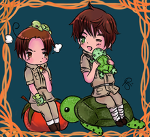 Spain and Romano with turtles by iCanadianBacon